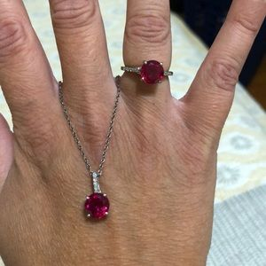 Ruby ring and necklace